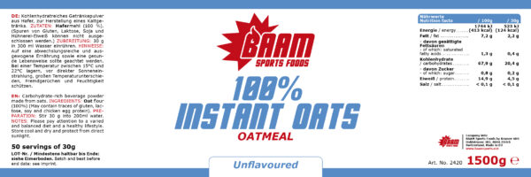 Label BAAM Sports Foods Instant Oats